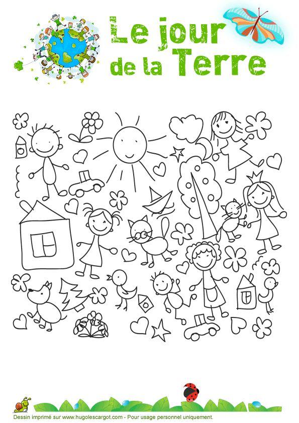 A colorier, de petites images rigolotes pour le « Jour de la terre »