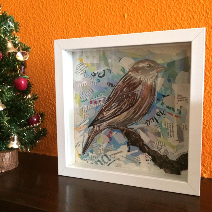 "PHOTO SENT BY THE LOVELY OWNER OF OUR ""SPARROW"" made in 2014  / collage / paper on cardboard / anti-uv protection / framed 25x25cm/ ©Philippe Patricio 2014 / all rights reserved"
