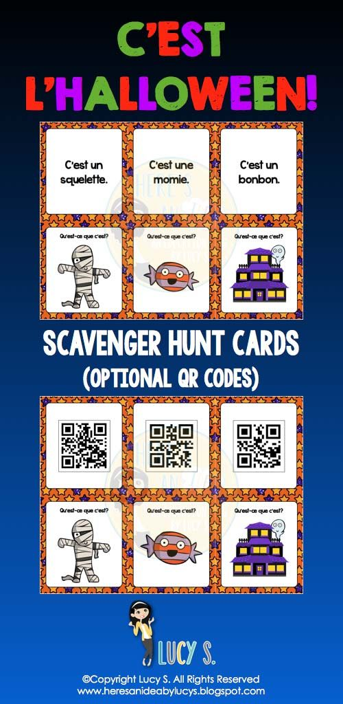 French Halloween Scavenger Hunt - get your students up and moving while practicing vocabulary! En français [QR codes optional]