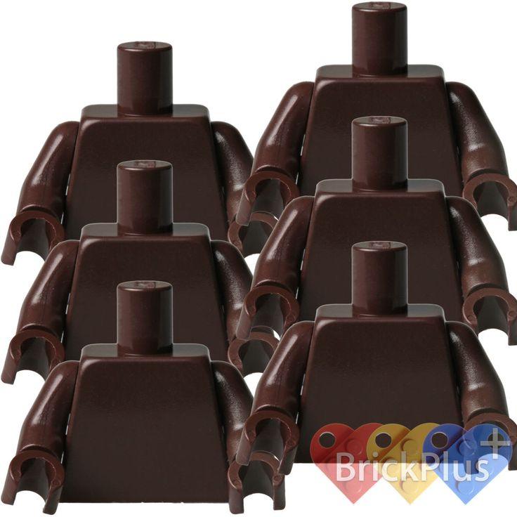 Lego 6x Minifig Plain Dark Brown TORSO & Dark Brown Hands Blank Body 973c63 #LEGO