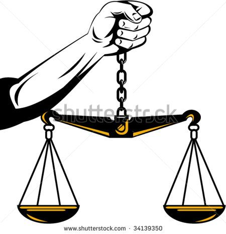 Hand of justice holding up a weighing scale isolated on white background #scales #retro #illustration
