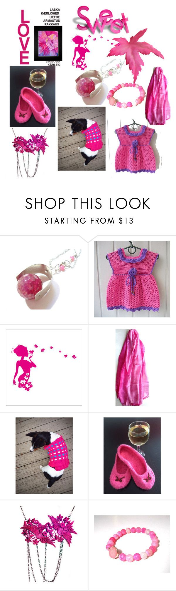 Sweet Fuchsia by anna-recycle on Polyvore featuring Scialle, Hostess, ANNA, modern, rustic and vintage