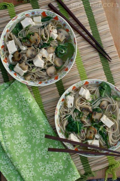 Soba Noodle Soup w/Tofu, Mushrooms & Spinach (Food Bloggers Against ...