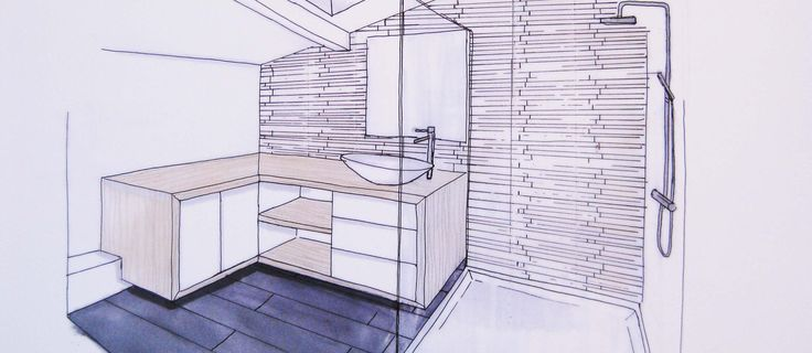 8 best images about dessins archi on pinterest for Salle de douche bois