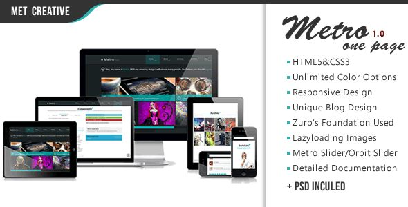 Metro One Page | Responsive, Select Your Color - ThemeForest Item for Sale