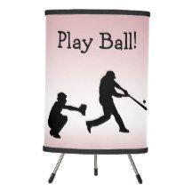 Play Ball Baseball Sports Girly Pink Table Lamp