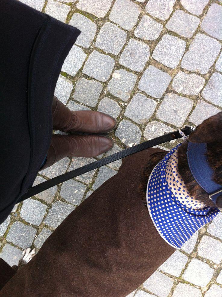 """Desde Oporto te proponemos un tuli-outfit para disfrutar con tu perro los días de otoño e invierno: tuli-pañuelo """"Two Sides"""" azul Shocking/Champagne; tuli-abrigo de Burel castaño; collar martingale """"Suria"""". Tuli-pañuelo y abrigo, by O Clube da Tula; collar martingale, by Brott Barcelona. http://oclubedatula.com/es/un-outfit-otonal-by-o-clube-da-tula-brott-barcelona/"""