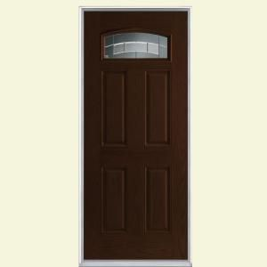 make a charming addition to your home with masonite croxley camber fan lite espresso oak grain textured fiberglass prehung front door with no brickmold