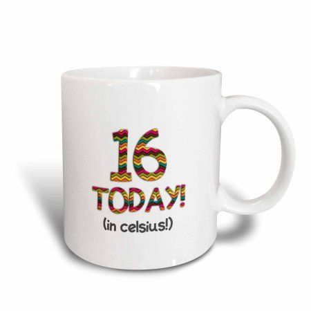3dRose 16 Today? in celsius - Funny 60th Birthday. 16C is 60 in fahrenheit, Ceramic Mug, 11-ounce