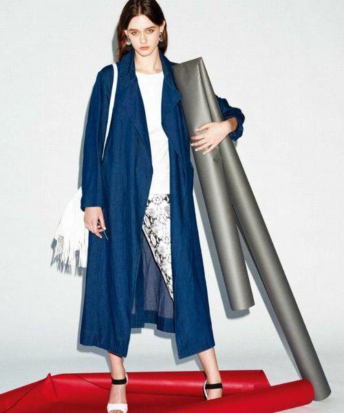 前開きコートから見える服も抜かりなく♡冬のファッションアイテム デニムコート コーデを集めました♪