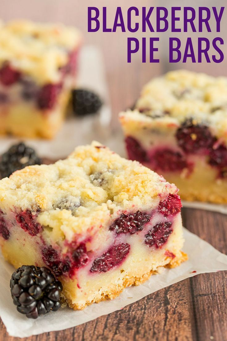 Blackberry Pie Bars - A shortbread crust, a creamy, custard-like blackberry pie filling, and a crumb topping. Delicious alternative to blackberry pie!