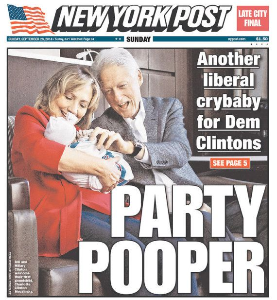 """The New York Post cover showing the phony Clintons holding the Mezvinsky kid. The paper called the kid """"another liberal crybaby"""" and a """"party popper"""". It should be framed for the kid's room. Note Bill's groping it and his Venus fly trap mouth hanging open."""