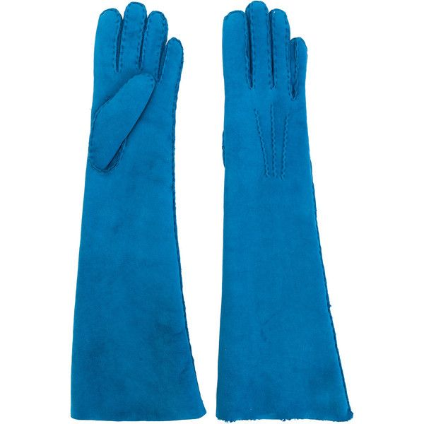 Maison Fabre shearling long gloves (9 205 UAH) ❤ liked on Polyvore featuring accessories, gloves, blue, long gloves, blue gloves, opera gloves, long blue gloves and maison fabre