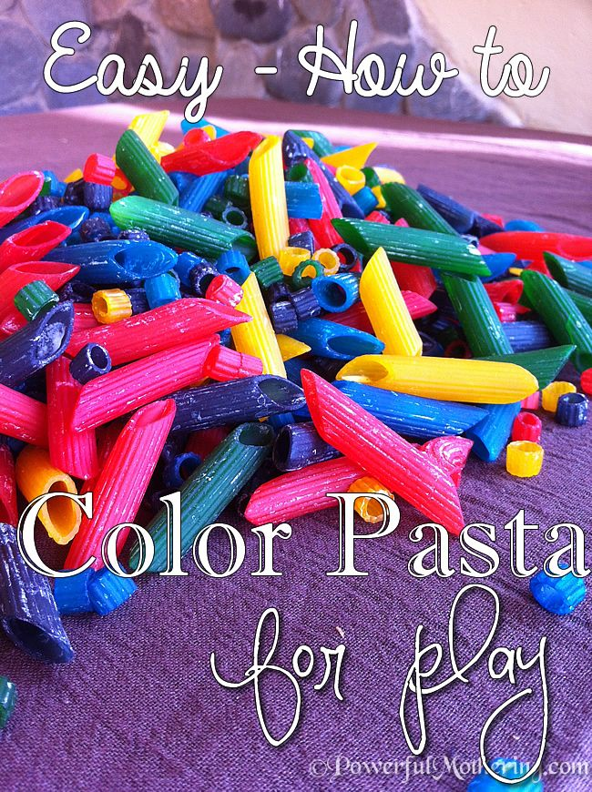 Easy How to Color Pasta for Play. Vinegar, food coloring, wait an hour, place dyed past on waxed paper, and dry.