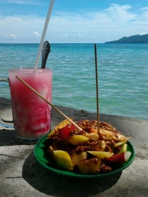 The famed : Rujak Natsepa & Es kelapa muda; the food, the sea, Indonesia-- this picture sends the sun's warm rays to my heart #vibes