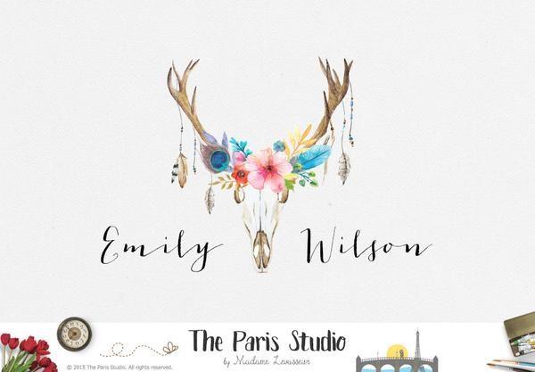 Watercolor Floral Antler Logo Pay As You Go Custom Logo Design