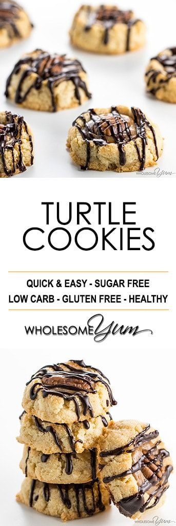 Thumbprint Caramel Pecan Turtle Cookies Recipe - An EASY caramel pecan turtle cookies recipe that looks and tastes impressive! No one will believe these thumbprint cookies are sugar-free & gluten-free. #LowCarb #GlutenFree #Cookies