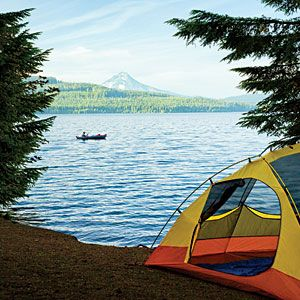 Wake up to the view of Mt. Hood rising from an alpine forest at Oregon's Hoodview Campground.