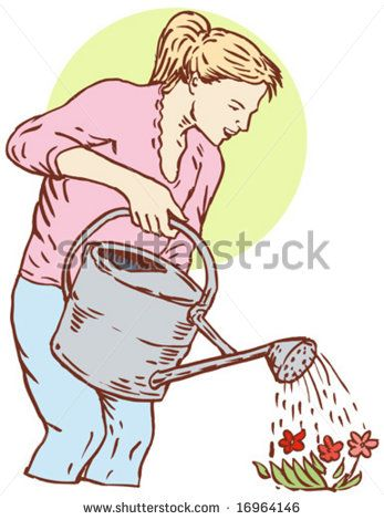 Woman watering her plants - stock vector #mother #sketch #illustration