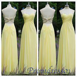 #promdress01 prom dresses - 2015 elegant yelow chiffon strapless prom dress for teens, ball gown,occasion dress for #prom2k15, custom made #promdress -> www.promdress01.c... #coniefox #2016prom