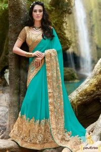 Delightful Dark Cyan Color Party Wear Saree Online #saree, #designersaree more:http://www.pavitraa.in/catalogs/designer-sarees-for-roka-ceremony/?utm_source=rn&utm_medium=pinterestpost&utm_campaign=9july