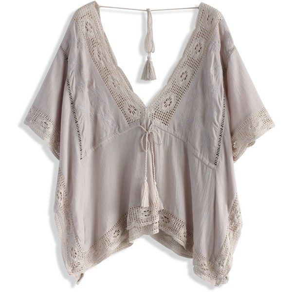 Chicwish Flowery Breeze Embroidered Smock Top (666.900 IDR) ❤ liked on Polyvore featuring tops, beige, smocked top, tassel top, eyelet top, summer tops and kimono sleeve top