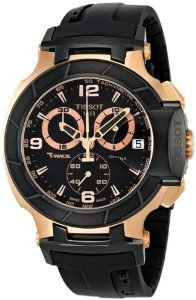 Watches are best gifts. Tissot Men's T048.417.27.057.06 T-Sport Rose-Gold PVD Black Rubber Strap Watch. Nice watch