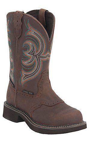 Justin® Ladies Gypsy™ Aged Bark w/ Saddle Vamp Waterproof Steel Toe Work Boot | Cavender's
