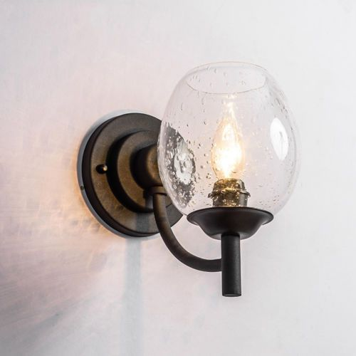 Retro-Lamp-Lighting-Seeded-Glass-Shade-Black-Metal-Base-Indoor-Wall-Light-Sconce