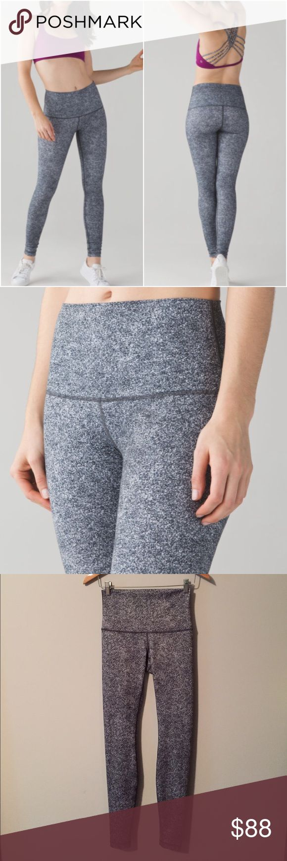 Lululemon Wunder Under Pant High Rise Lululemon Wunder Under Pant High Rise in Rio Mist White Black, perfect condition with no flaws (meaning no piling/seam damages/rips/holes/stains/odours/etc etc). Bundle to save 10% off ❤ lululemon athletica Pants Leggings