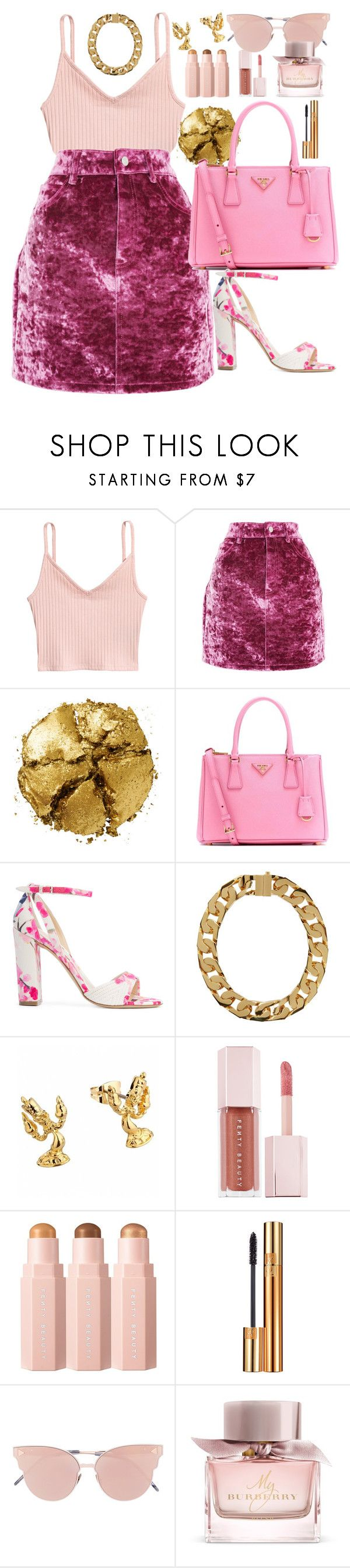 """Pink"" by matousadiya on Polyvore featuring Topshop, Pat McGrath, Prada, Monique Lhuillier, AMBUSH, Lumière, Puma, Yves Saint Laurent, So.Ya and Burberry"