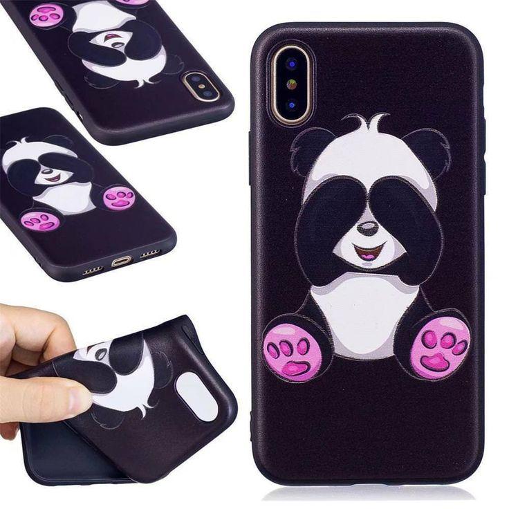 Funny Black with Cartoon Panda Flexible Back Case Cover