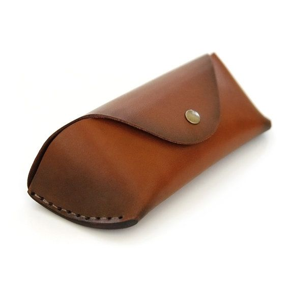 Glasses Case by AtelierPALL Sunglasses Leather case in brown leather hand stitched
