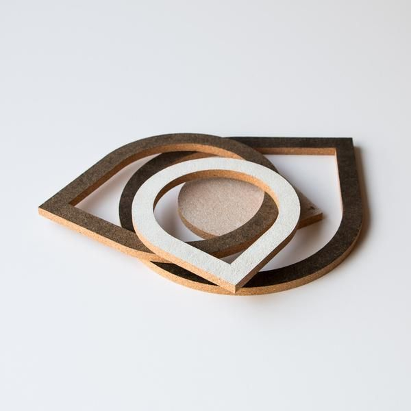 """Contemporary Painted Cork Trivets (4 in 1) """"Drops"""" - Made in Canada - Chic & Basta"""