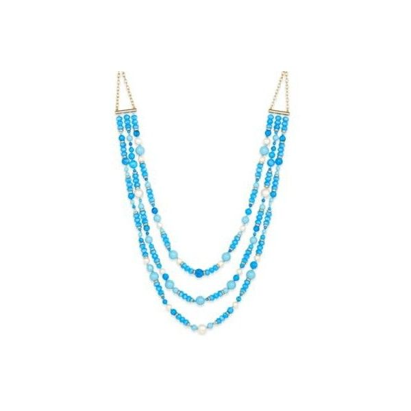 kate spade new york Gold-Tone Three-Strand Blue Beaded Statement... ($197) ❤ liked on Polyvore featuring jewelry, necklaces, beaded statement necklace, statement bib necklace, colorful statement necklace, multi colored statement necklace and blue statement necklaces