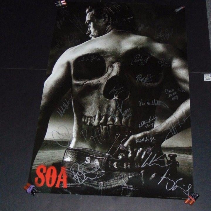 Sons of Anarchy cast signed autographed poster Charlie Hunnam Ryan Hurst