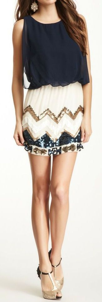 Love this dress in Navy, White, and Gold