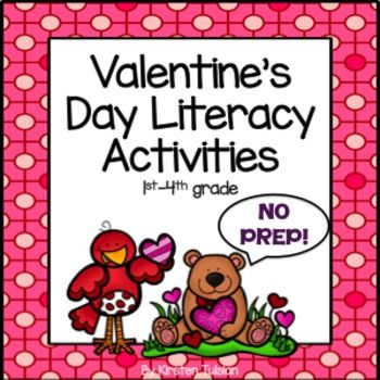 No Prep, Common Core aligned, PRINTABLE Literacy Activities for 1st-4th grade will help you cover a lot of objectives in January and February!  This packet includes the following: Various Writing Prompts, Love Note, Word Unscramble, Main Idea and Details for use with any book, Valentine's Day Nouns and Adjectives, ABC Order, and Compare and Contrast