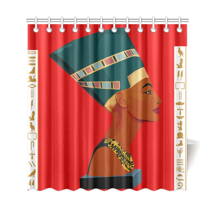 "Queen Nefetiti Shower Curtain Red Shower Curtain 69""x72"""