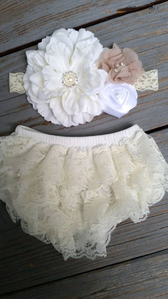 Ivory Lace Baby Bloomer-Ivory Shabby Chic Lace Diaper Cover/Bloomer Set/Headband