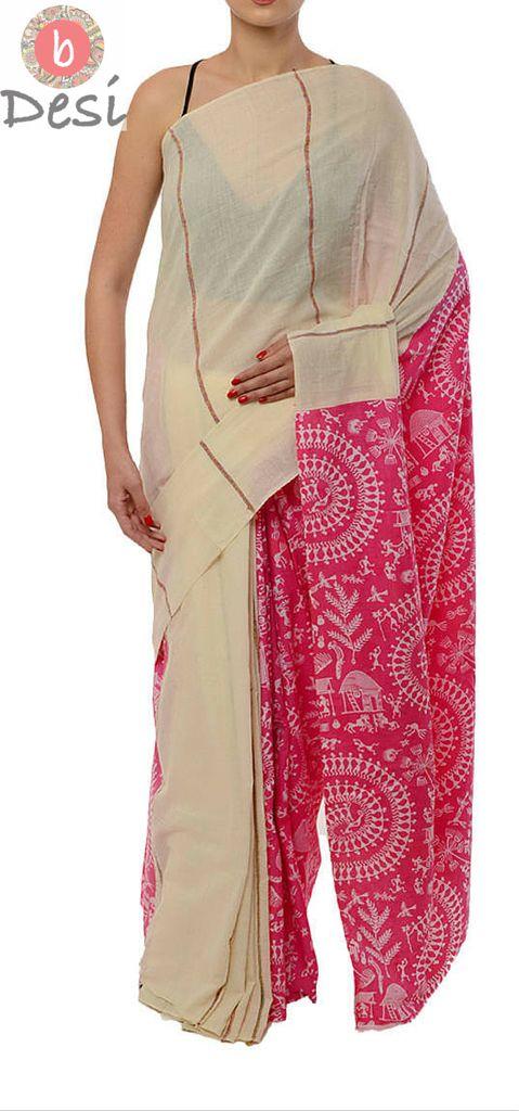 Cream & Pink Print 'Half n Half' style, Handwoven Khesh Cotton Saree from bDesi #KheshCotton #ShantiniketanTextiles #BengalCotton #Saree #Handwoven #bDesi