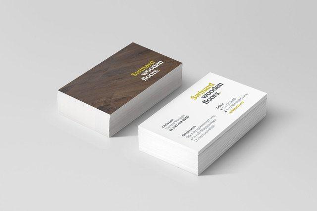 Swinard Wooden Floors business card design by Robertson Creative, Christchurch.