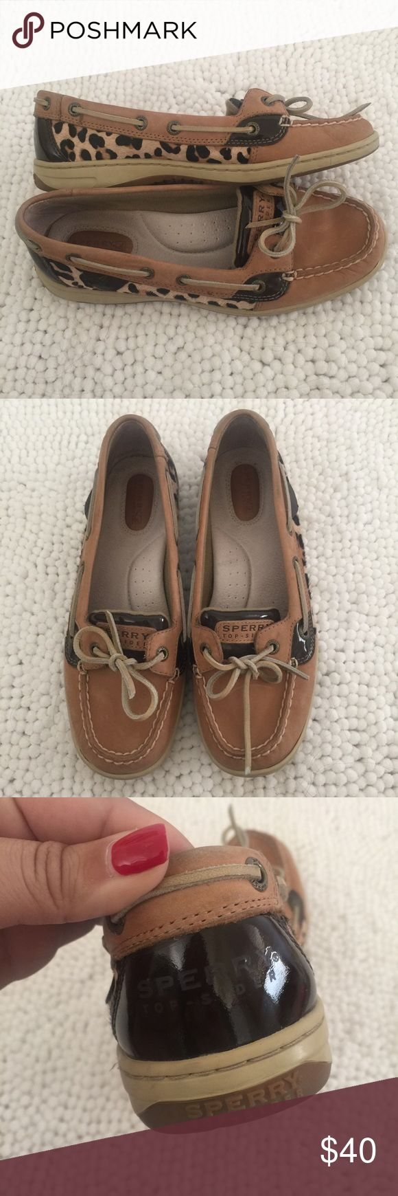 EUC Leopard Sperry Deck Shoes Excellent condition, worn a hand full of times if that! Leopard pattern makes these so different than normal deck shoes. Size 8. Sperry Top-Sider Shoes