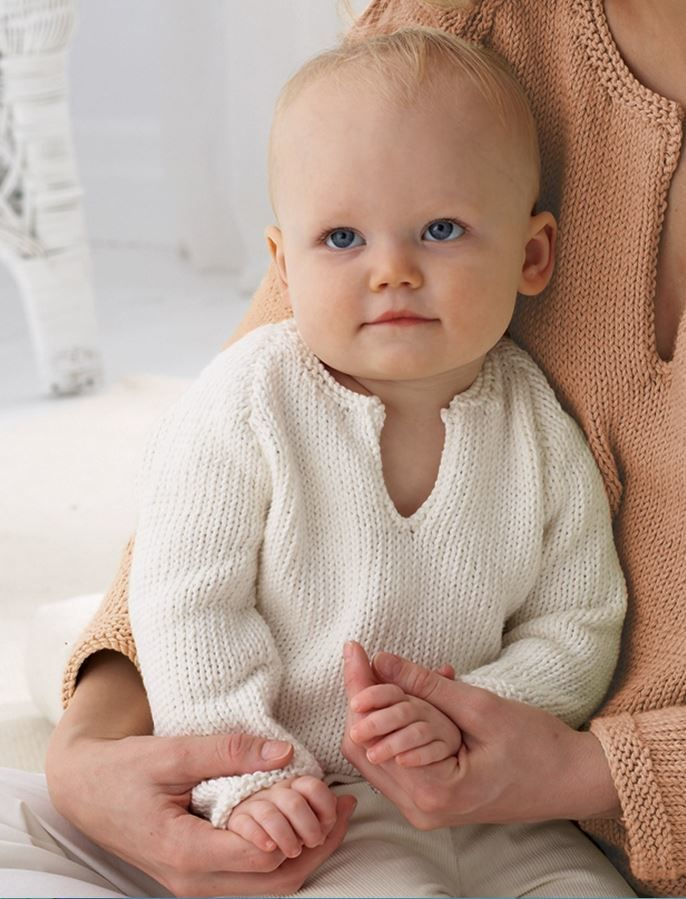 An essential in every baby's first wardrobe is a Classic Baby Sweater. Knitted sweaters like this one will get baby off to a good start in life - cozy, comfortable, and cute as ever.