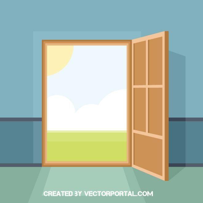 Open Door Vector Illustration Doors Vector Free Vector