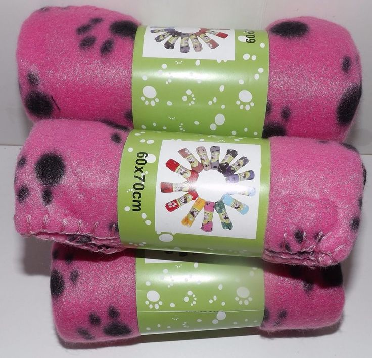 "Paw Fleece Throw - Pink 24"" x 28"" Lot of 4 #Unbranded"