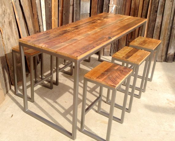 Custom Outdoor/ Indoor Rustic Modern/ Industrial Reclaimed Wood Bar Height  Table With Stools
