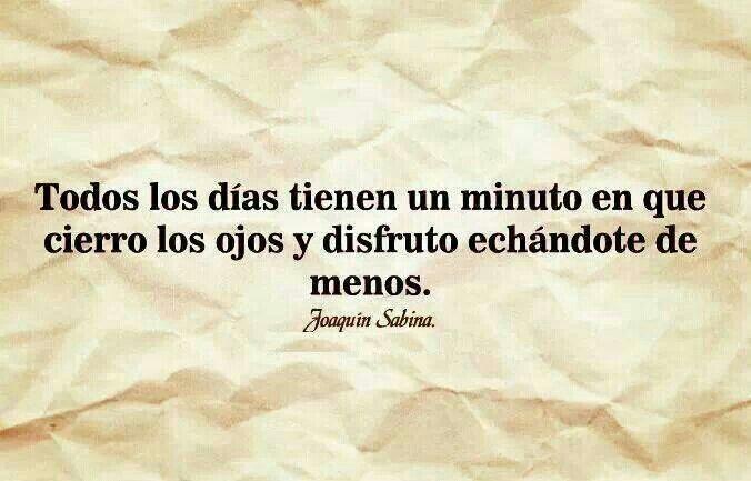 Todos los días tienen un minuto en que cierro los ojos y disfruto echándote de menos.  ~Joaquin Sabina