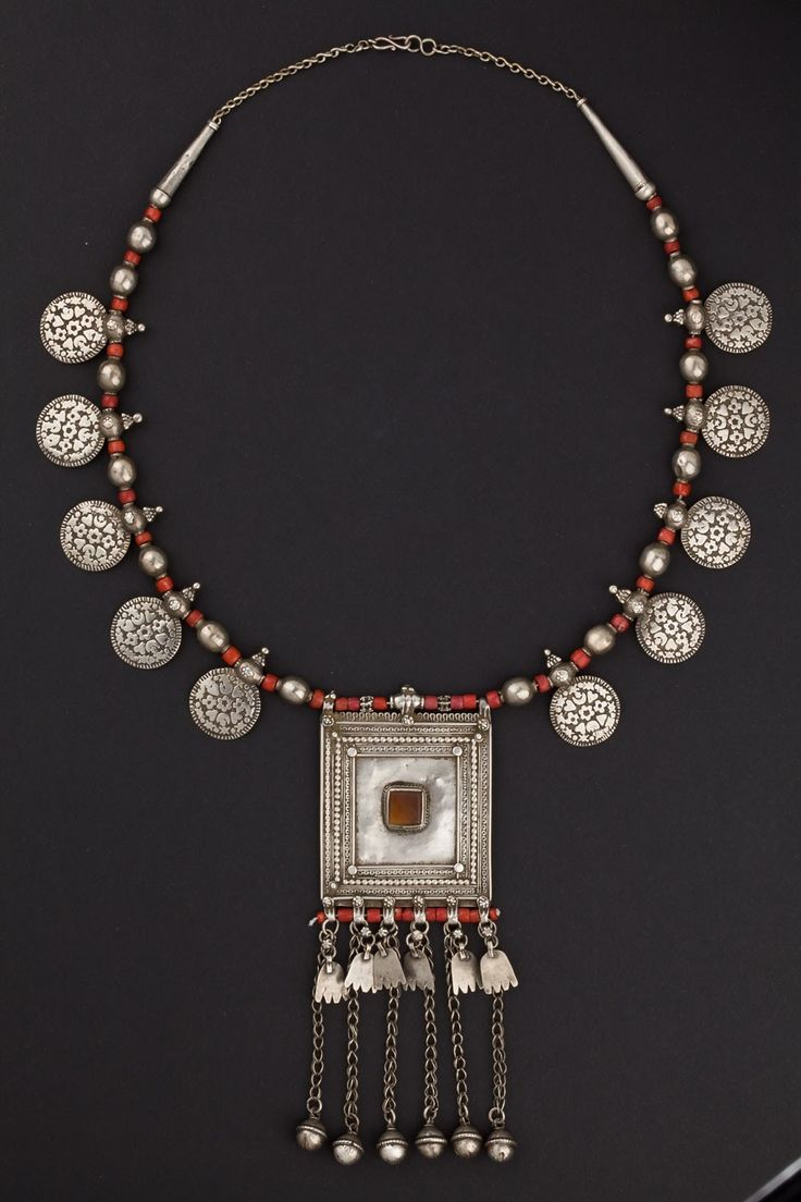 xxx ~ 'Yemen | Silver and coral necklace from the early 1900s.'