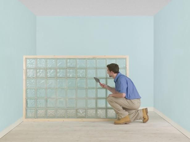 How to Build a Glass Block Partition or Wall   DIY Masonry & Tiling - How to Tile Floors, Backsplashes, Bathrooms   DIY